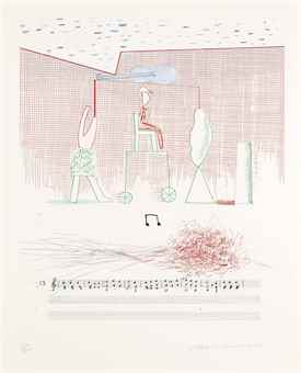 David Hockney-Parade, from: The Blue Guitar-1977