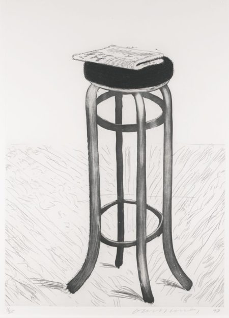 David Hockney-Steel Stool With Newspaper-1998