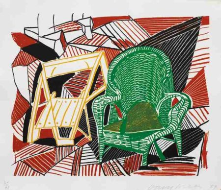 David Hockney-Two Pembroke Studio Chairs, from Moving Focus Series-1984