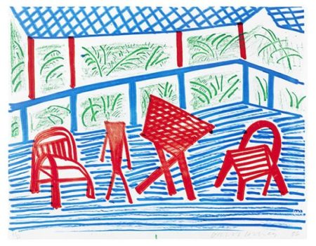 David Hockney-Two Red Chairs and Table, March 1986-1986