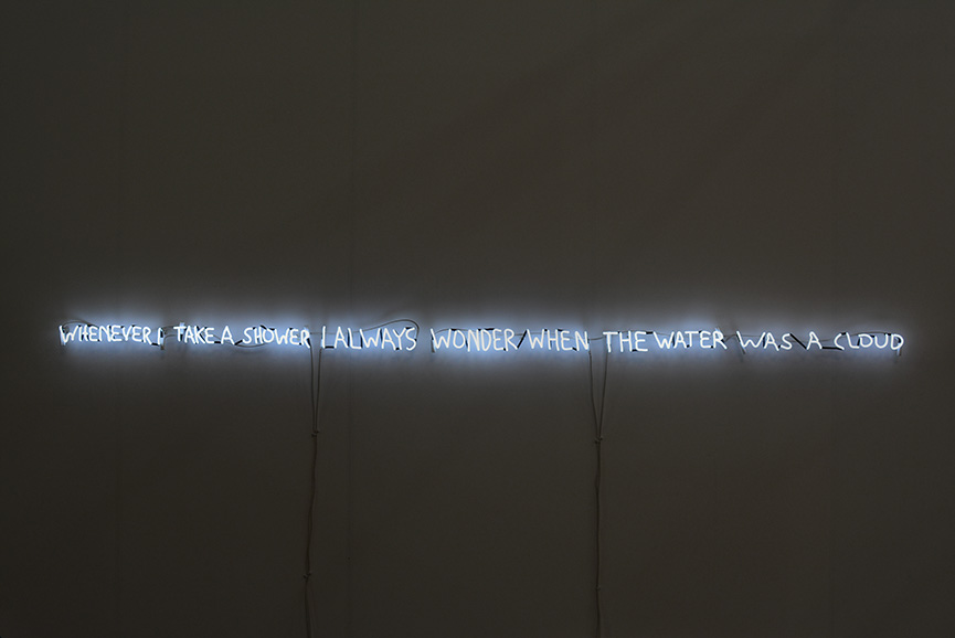 David Horvitz - Whenever I take a shower I always wonder when the water was a cloud, 2016. Neon, 275 3/5 × 216 1/2 in, 700 × 550 cm. Courtesy ChertLüdde