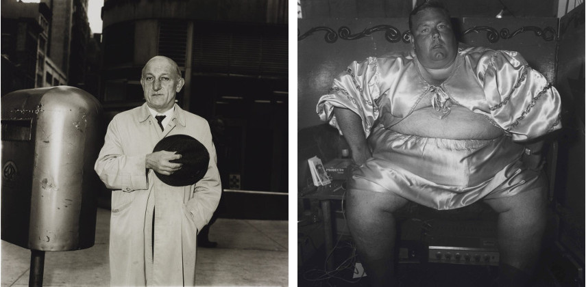 Diane Arbus - Man At A Parade On Fifth Avenue 1969 (Left) / Fat man at a carnival, MD, 1970 (Right) - Image via wikipedia.org and tate.org.uk