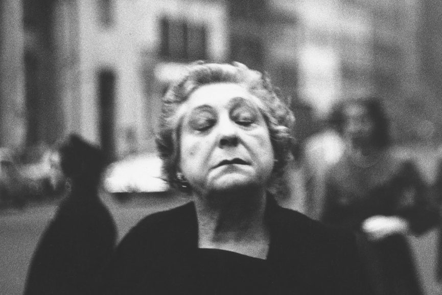 Diane Arbus. Woman on the street with her eyes closed, N.Y.C. 1956.