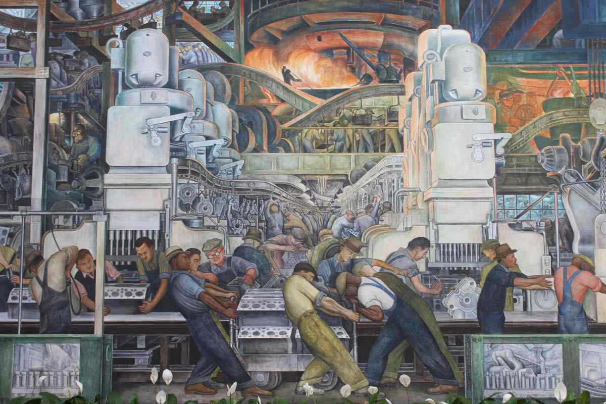 Mike alewitz the city at the crossroads of history mural for Diego rivera mural detroit