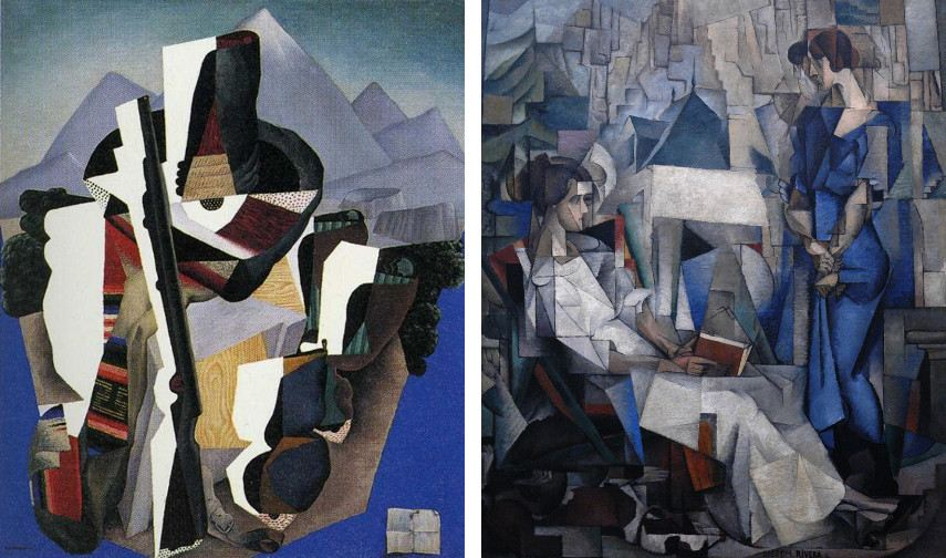 city works portrait Diego Rivera - Paisaje Zapatista (Zapatista Landscape), 1915 (Left), Two Women (Dos mujeres), 1914 (Right)