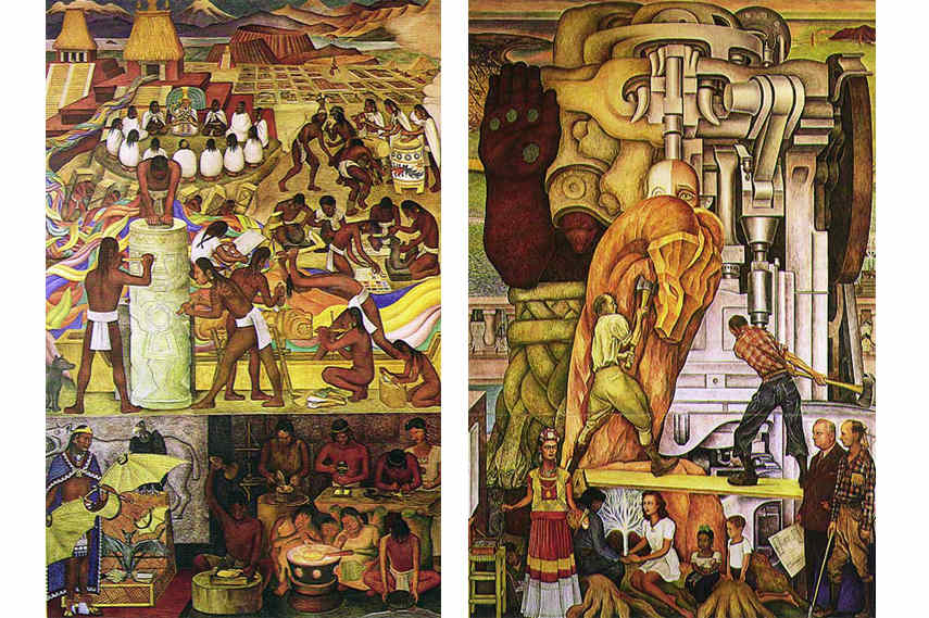Diego Rivera - The Marriage of the Artistic Expression of the North and of the South on this Continent -details- Image via Diegorivera com