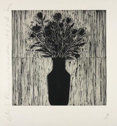 Donald Sultan-Black Flower and Vase-1993