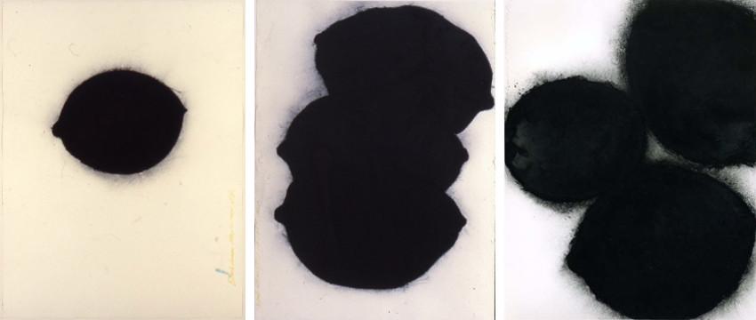 Donald Sultan - Black Lemon, May 22, 1984 (Left) - Black Lemons, Oct 13, 1984 (Center) - Black Lemon and Egg, Feb 24, 1987 (Right)