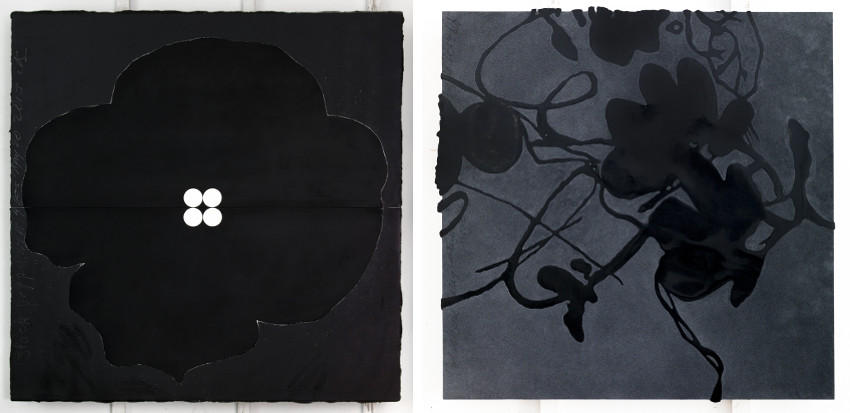 Donald Sultan - Black Poppy with 4 Dots, May 20, 2013 (Left) - Black and Grey Lantern Flowers, Feb 20, 2014 (Right), 2012, 2014, american, gallery, known, modern, best