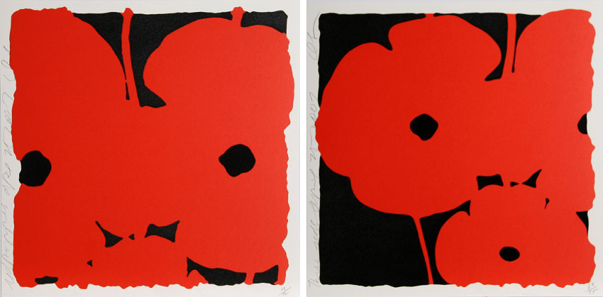 Donald Sultan - Red Poppies, April 25, 2007 (Left) - Three Red Poppies, April 25, 2007 (Right)