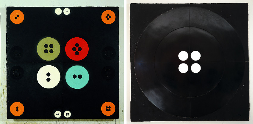 Donald Sultan - Sixteen Buttons, Dec 12, 1995 (Left) - Black Button, April 3, 1997 (Right), known, 2012, gallery, 2014