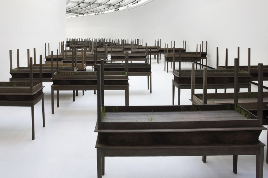 Doris Salcedo - Plegaria Muda, 2011, Installation view, CAM-Fundação Calouste Gulbenkian, Lisbon - image via nashersculpturecenter.org