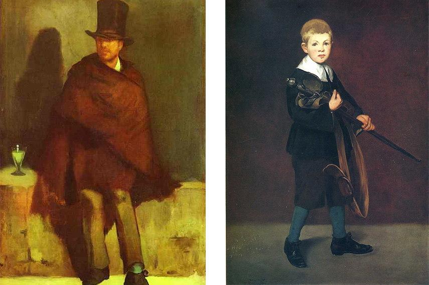 Édouard Manet - The absinthe drinker, 1859 (detail) (Left) / Boy Carrying a Sword, 1861 (Right) folies bar spanish exhibition