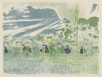 Edouard Vuillard-A travers champs, from Paysages et Interieurs-1899