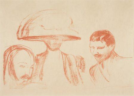 Edvard Munch-Two Men and a Woman with a Large Hat / To Menn Og Kvinne Med Stor Hatt (Woll 490; Schiefler 428)-1915