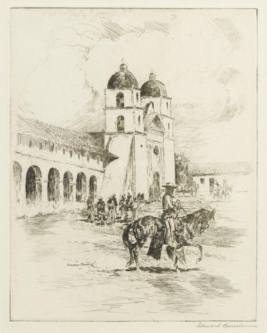 Edward Borein-An Old Time Christmas Mission Santa Barbara-1920