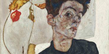 Egon Schiele - Self-Portrait with Physalis (detail) - 1912