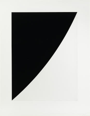 Ellsworth Kelly-Black Variation I from Second Curve series-1975