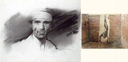 Ernest Pignon-Ernest-Etude pour Pasolini Intervention sur Image Toscanne-1982