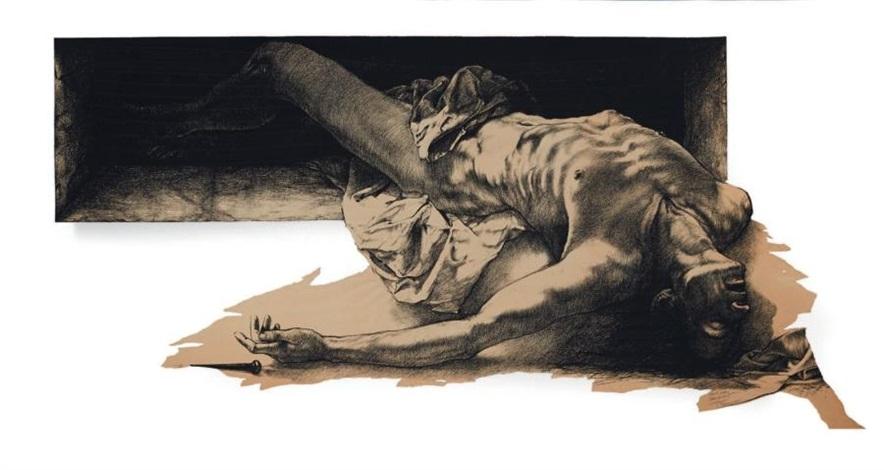 Ernest Pignon-Ernest - Homme Allonge Napoli, 1998