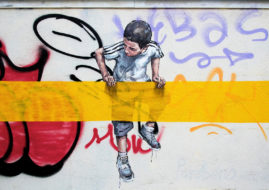 Ernest Zacharevic Boy Interacting With Buff Line