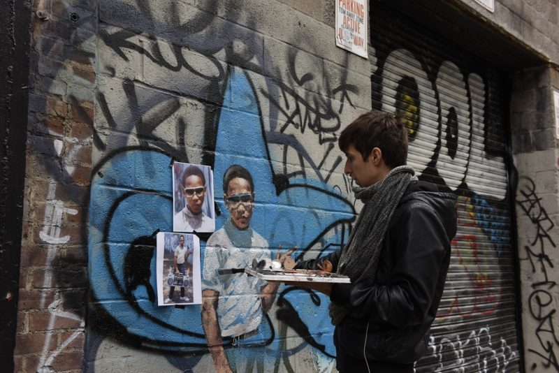 Ernest Zacharevic - Lil Crazy Legs making of - Photo Credit Martha Cooper