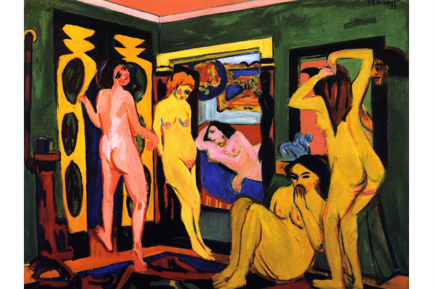 A work by Ernst Ludwig Kirchner titled Bathing Women in A Room labeled by nazis