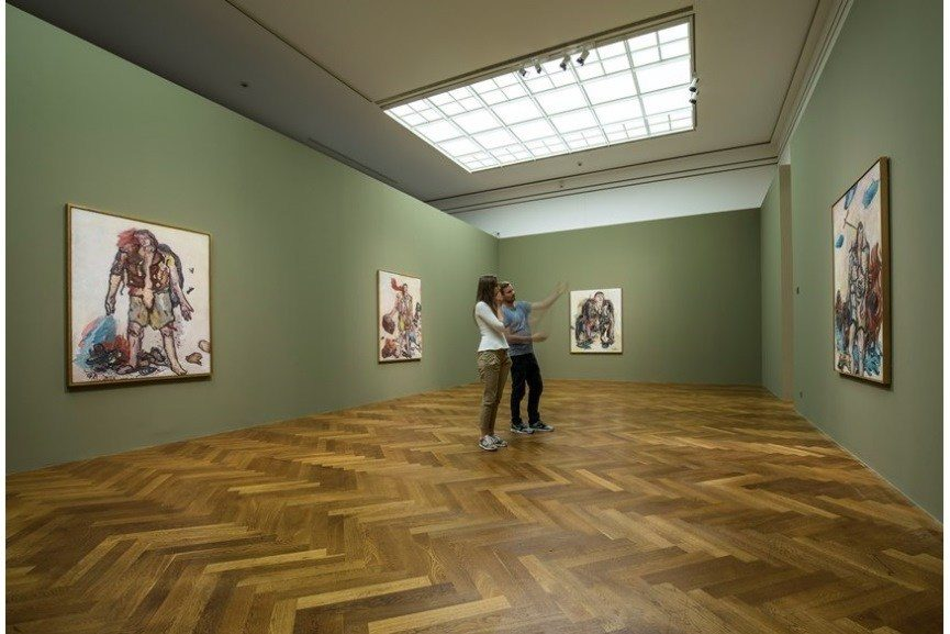 D View Of Exhibition : Georg baselitz paintings of heroes on view at staedel