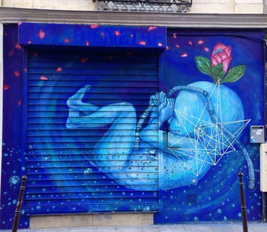 Fansack - Baby Bleu mural, Paris, France, 2015