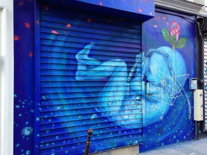 Fansack - Baby Bleu, mural in Paris, France, 2015