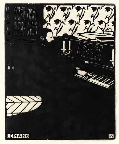Felix Vallotton-Le Piano, Plate IV of Instruments de Musique (Vallotton & Goerg 174)-1896