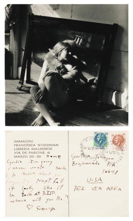 Francesca Woodman-Untitled Providence Rhode Island (Self-Portrait Nude In Fox Fur)-1976