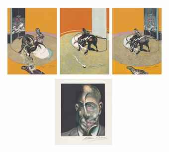 Francis Bacon-Miroir de la Tauromachie (The Complete Portfolio of Four Lithographs in colors)-1990