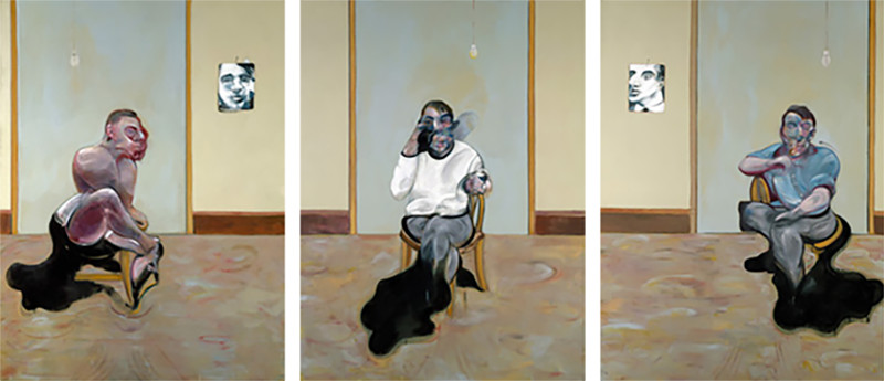 Francis Bacon - Three Portraits - Posthumous Portrait of George Dyer - Self-Portrait - Portrait of Lucian Freud, 1973, his work was done at home