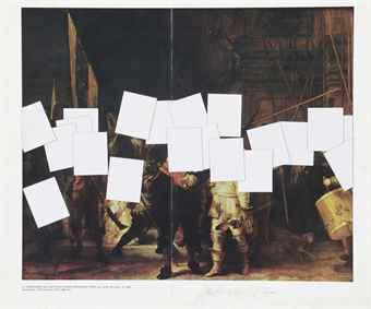 Francois Morellet-Defiguration n°22 (La Ronde de Nuit, Rembrandt)-1992