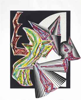 Frank Stella-Then came death and took the butcher, from Illustrations after El Lissitzsky's Had Gadya-1984