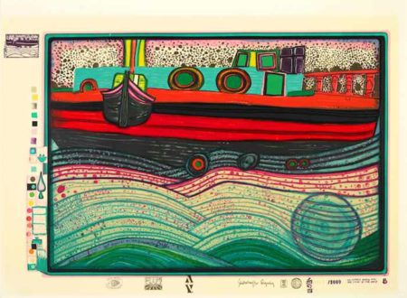 Friedensreich Hundertwasser-Regentag on waves of love pl. 8 from Look at it on a Rainy day-1972
