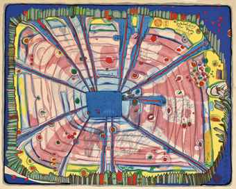 Friedensreich Hundertwasser-Rain of Blood is falling into the Garden, from Nana Hyaku Mizu-1972