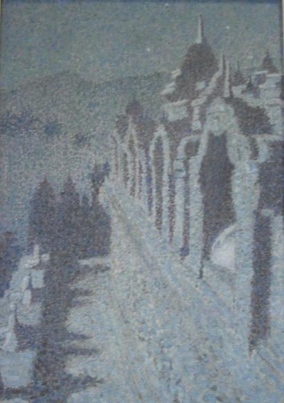Gabriel Ferrand-Vue de remparts de Palais eu clair de lune-