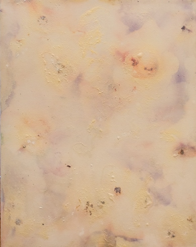 Gareth Pruter - Conspiracy, photographic emulsion,  bleach, acrylic paint, and spray adhesive on raw canvas, 30 x 40 in
