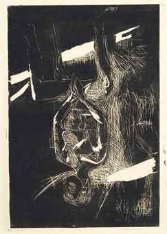 Georg Baselitz-Weiblicher Akt auf Kuchenstuhl-1979
