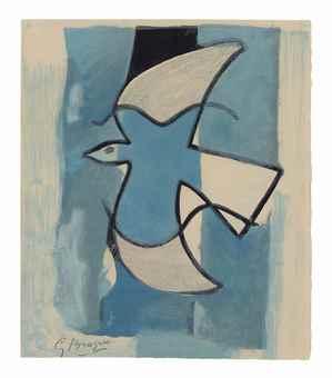 Georges Braque-L'oiseau bleu et gris-1962