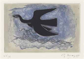 Georges Braque-Oiseau noir sur fond bleu (Oiseau VIII)-1955