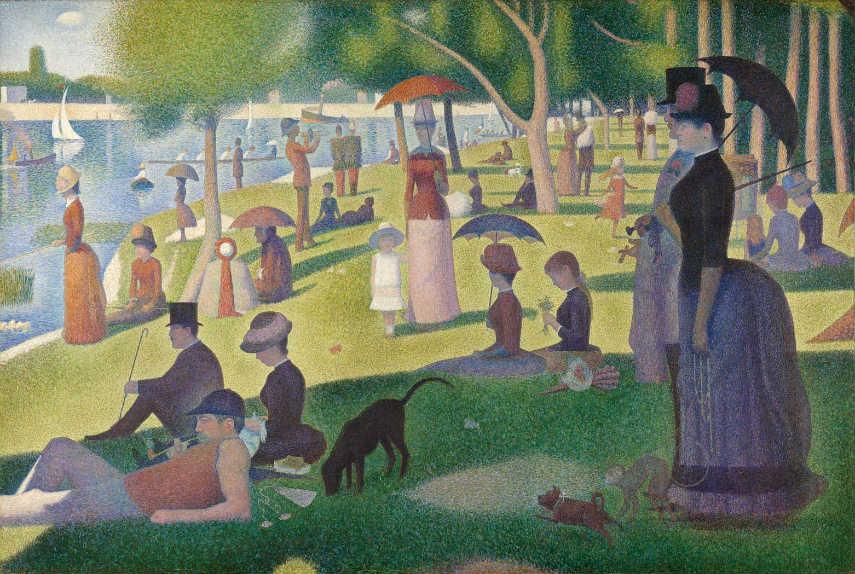 Georges Seurat - A Sunday on La Grande Jatte, 1884-86, photo via britannica.com french page grande sunday paintings work paris pointillism, artist island century