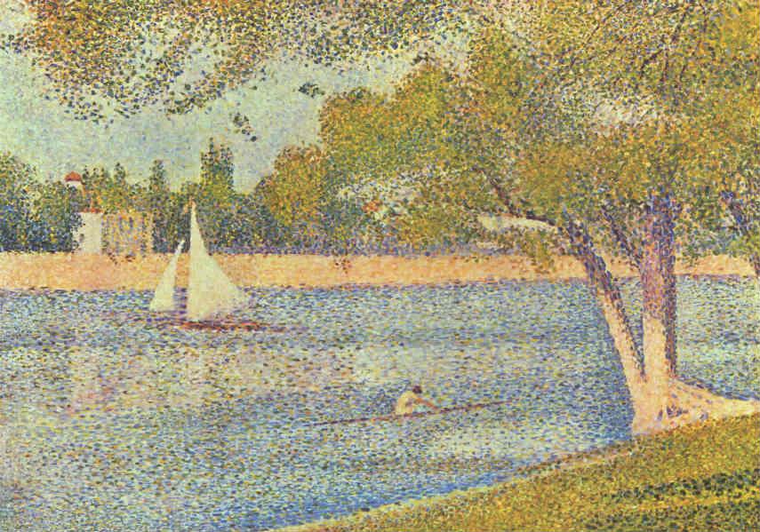 Georges Seurat - The river Seine at La Grande Jatte, 1888, photo via wikiwrt.org french page grande sunday paintings work paris pointillism, artist seurat's island