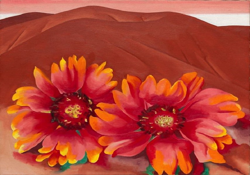 Georgia O'Keeffe - Red Hills with Flowers. Image via gergiaokeeffe.net