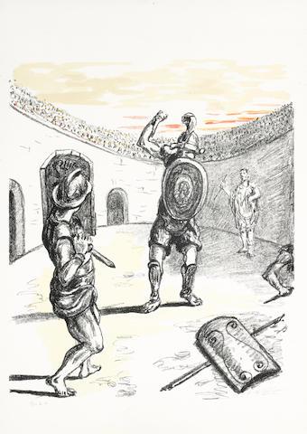 Giorgio de Chirico-Gladiatori nell'arena-1969