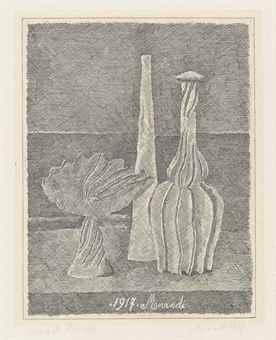 Natura morta con compostiera, bottiglia lunga e bottiglia scannellata-1928