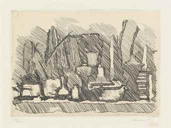 Giorgio Morandi-Natura morta di vasi, bottiglie ecc. su un tavolo-1929