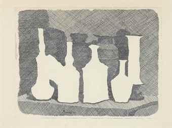 Giorgio Morandi-Natura morta di vasi su un tavolo-1931